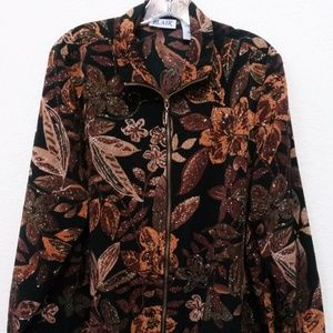 BLAIR Womens Zip Up Floral Jacket Long Sleeve